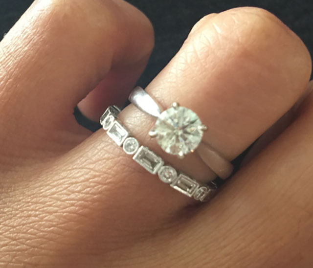 hathalove's Distinct Diamond Baguette Eternity Band (Top View with Engagement Ring) - image by hathalove
