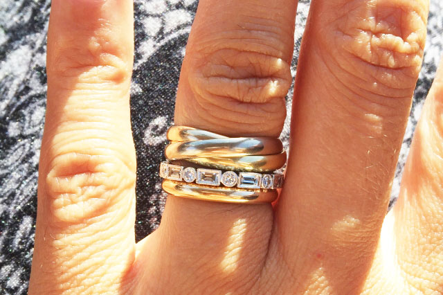 hathalove's Distinct Diamond Baguette Eternity Band (Top View with Plain and Trinity Bands) - image by hathalove