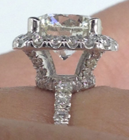 iamdre's Harry Winston Inspired 2 Carat Round Cushion Halo Ring (Side View) - image by iamdre