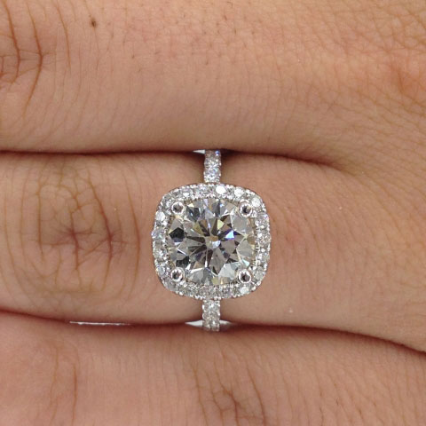 iamdre's Harry Winston Inspired 2 Carat Round Cushion Halo Ring (Top View) - image by iamdre