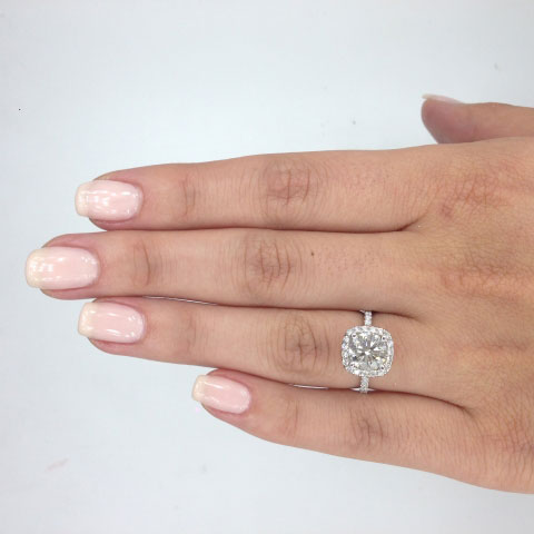 iamdre's Harry Winston Inspired 2 Carat Round Cushion Halo Ring (Hand View) - image by iamdre