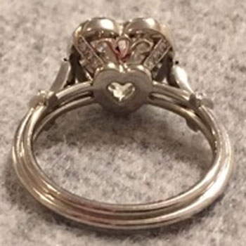 kylier's Vintage Heart-Shaped Diamond Ring (Angled Bottom View) - image by kylier