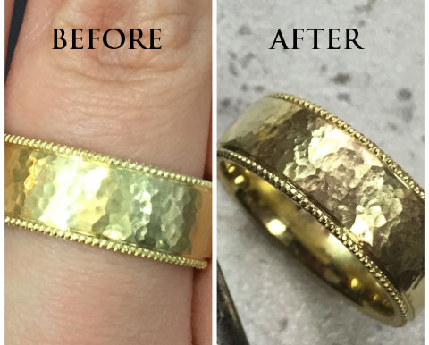 Madelise's Hammered Gold Wedding Band (Before/After View) - image by Madelise
