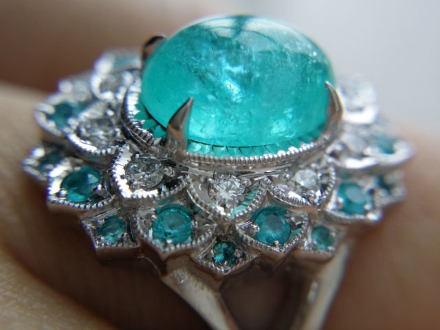 mochiko42's 2.05 Carats Brazilian Paraiba Halo Ring (Close-Up Side View) - image by mochiko42