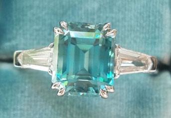 mochiko42's 3 Stone Emerald Cut Blue Zircon Ring (Top View) - image from mochiko42