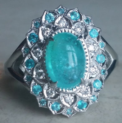 mochiko42's 2.05 Carats Brazilian Paraiba Halo Ring (Top View) - image by mochiko42