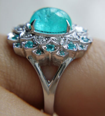 mochiko42's 2.05 Carats Brazilian Paraiba Halo Ring (Side View) - image by mochiko42