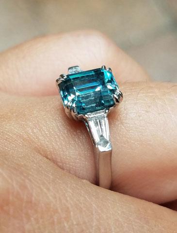 mochiko42's 3 Stone Emerald Cut Blue Zircon Ring (Side View) - image from mochiko42