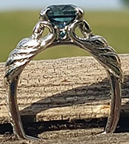 picante27's Platinum Teal Sapphire Peacock Ring (Side View) - image by picante27