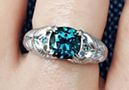picante27's Platinum Teal Sapphire Peacock Ring (Top View) - image by picante27
