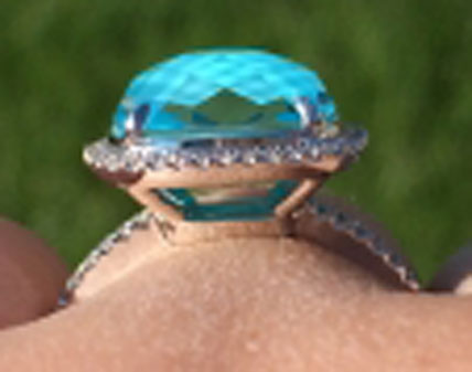 two_little_birds's Mesmerizing Fusion of White Topaz and Turquoise Ring (Side View) - image by two_little_birds