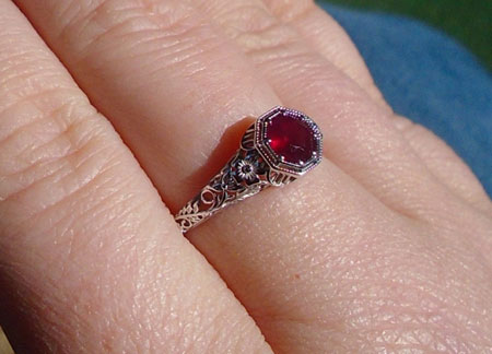 userangl28212003's Intricate Vintage Ruby Red Ring (Hand View) - image by userangl28212003
