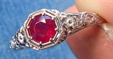 userangl28212003's Intricate Vintage Ruby Red Ring (Slight Angle View) - image by userangl28212003