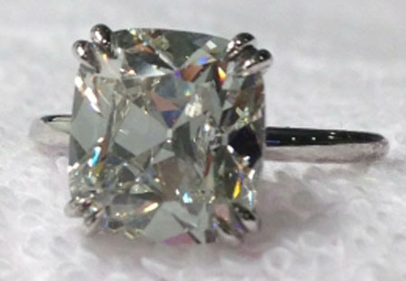 wintotty's 4.27 Carat August Vintage Cushion (AVC) Diamond Ring (Top View) - image by wintotty