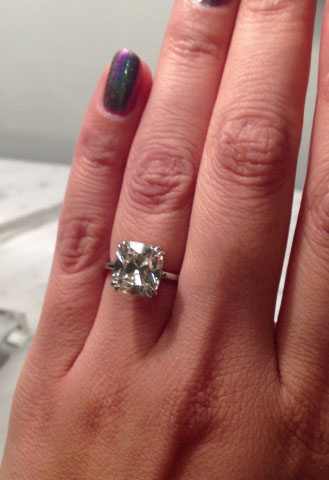 wintotty's 4.27 Carat August Vintage Cushion (AVC) Diamond Ring (Hand View) - image by wintotty