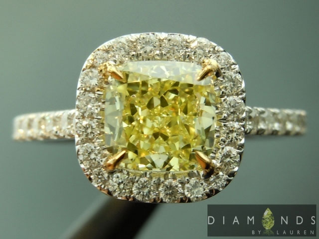 Wizardman123's Cushion Cut Halo Two-Toned Diamond Engagement Ring (Top View) - image by Diamonds by Lauren