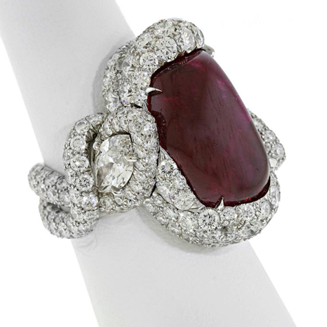 2013 AGTA Spectrum Awards Best of Show • James Currens, J.W. Currens, Inc. • Platinum Lava ring