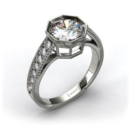 18k White Gold Zinnia Inspired Geometric Engagement Ring from James Allen