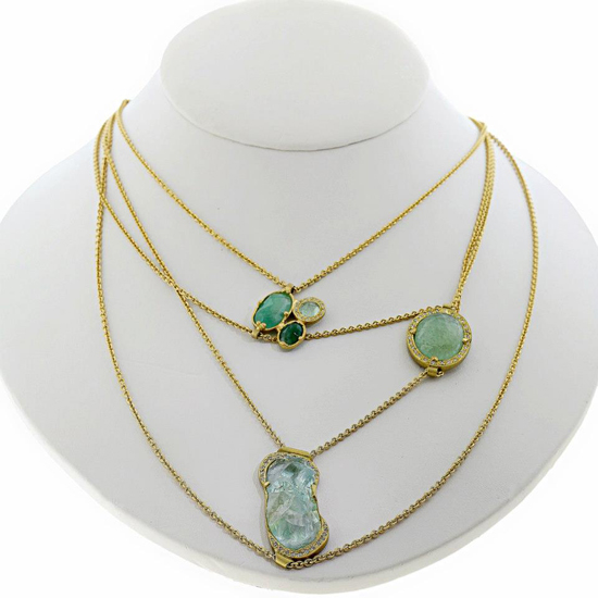 2013 AGTA Spectrum Awards Fashion Forward • Jennifer Dawes aquamarine, emerald, and diamond necklace