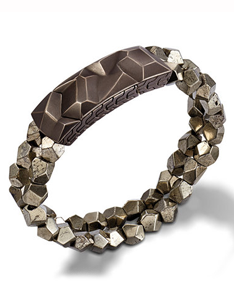 John Hardy men's station bracelet with pyrite in sterling silver