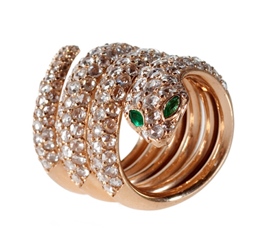 Julia Cohen 18k rose gold snake ring at Broken English