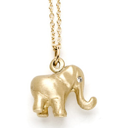 Kamofie elephant pendant with diamond eyes