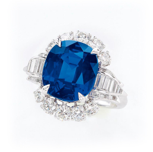 Sotheby's Hong Kong April 8 Auction: 7.68-carat Kashmir sapphire and diamond ring by Harry Winston