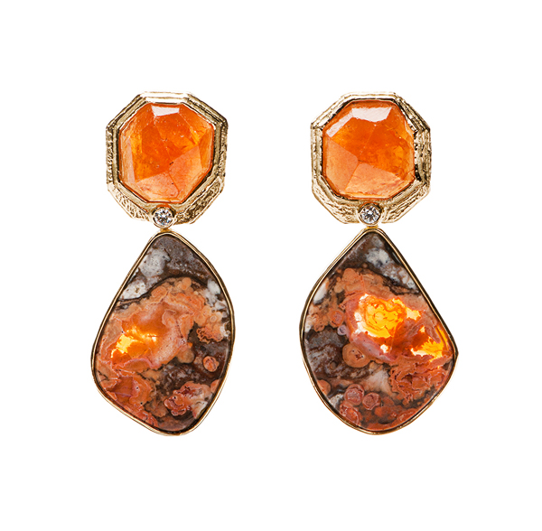 Earrings with Mexican opal and spessartite garnets by Katy Briscoe