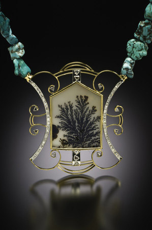 Ku Hai Winter Necklace with black, raw, and mogul-cut diamonds, dendritic agate in gold