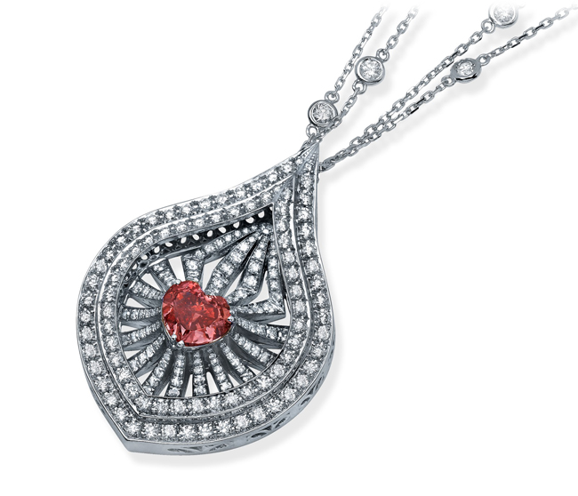 The Lady Leilani • 1.73-carat fancy-vivid pink heart-shaped diamond necklace