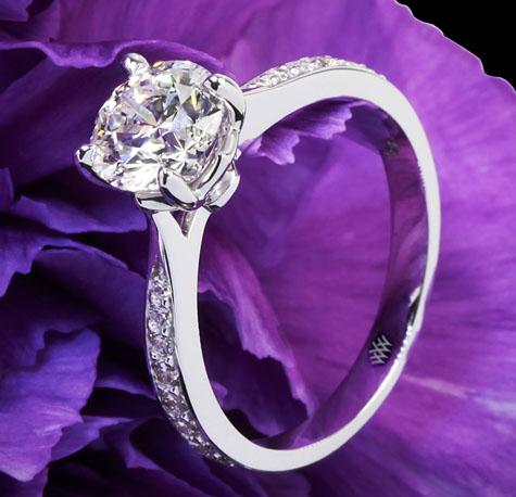 Whiteflash Signature Legato Sleek Line Pave Diamond Engagement Ring