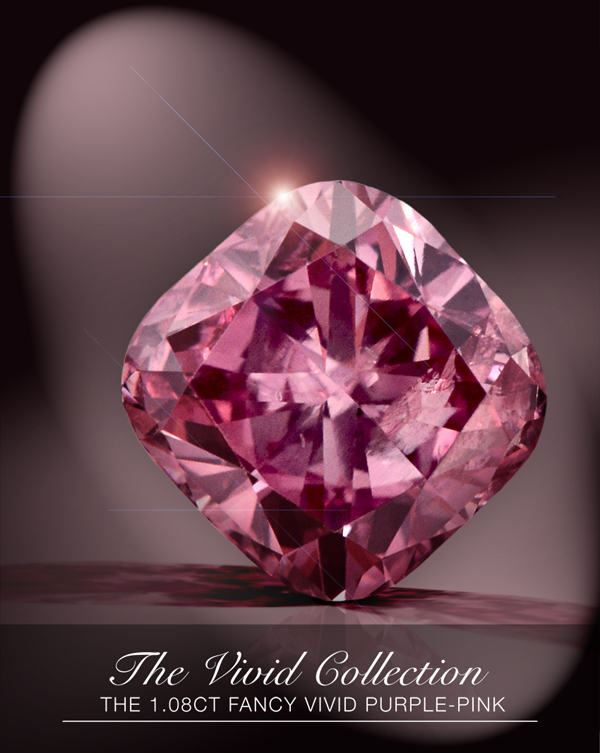 1.08-carat fancy-vivid purplish pink diamond from Leibish & Co.