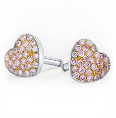 Pink diamond heart earrings by Leibish & Co.