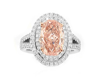 4.17-carat pink diamond in oval halo ring from Leibish & Co.