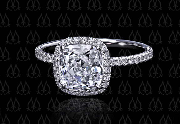 Leon Mege diamond halo engagement ring with Dynasty Cut cushion