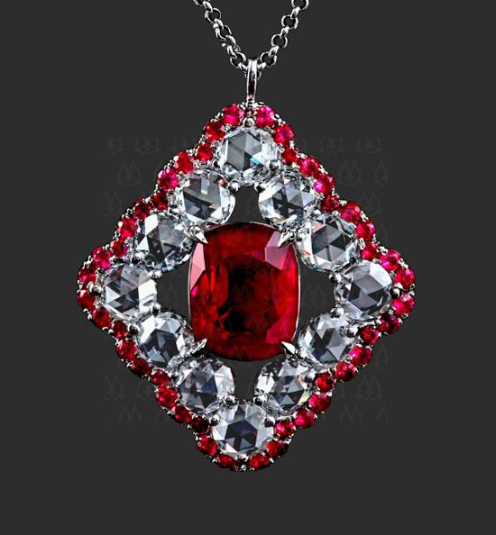 Ruby and rose-cut diamond pendant by Leon Megé