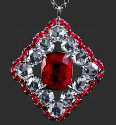 Ruby and rose-cut diamond pendant by Leon Megé