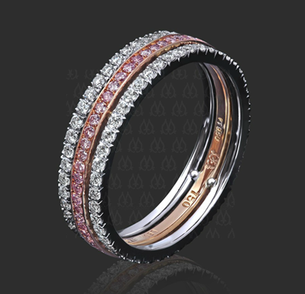 Three-strand 'Marina' band with pink and white diamonds by Leon Megé