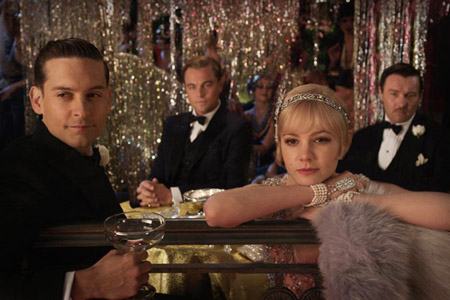 Leonardo-DiCaprio, Tobey Maguire, Joel-Edgerton, and Carey-Mulligan in a still from The Great Gatsby