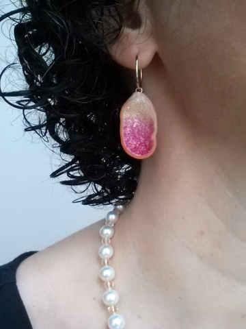 Little h Geode Souffle Pearl and Sapphire Earrings - Image by bsomlo