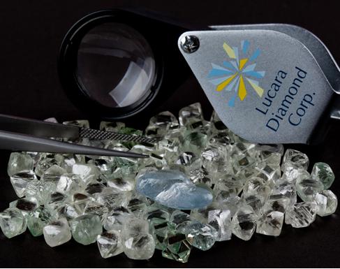 Lucara Diamond Corp. 9.46-carat blue diamond and rough diamonds from the Karowe Mine