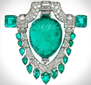 Emerald and diamond brooch owned by Marjorie Merriweather Post
