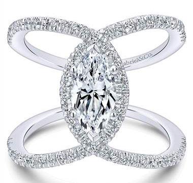 Gabriel & Co. 14KW. Gold Dia Ring