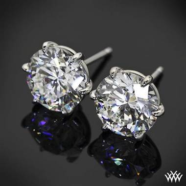 "18k White Gold 6 Prong ""Martini"" Earrings - Settings Only by Whiteflash"