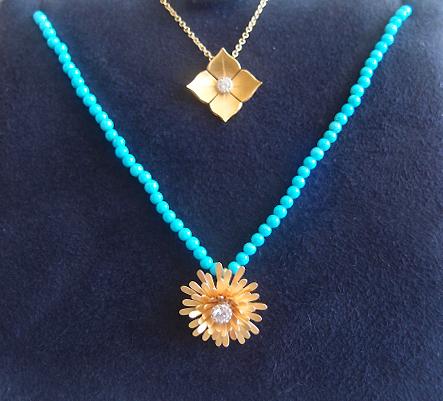 McTeigue & McClelland Quadrille and Dandelion Diamond Pendants