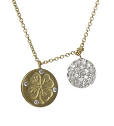 Meira T gold shamrock and diamond disc pendant