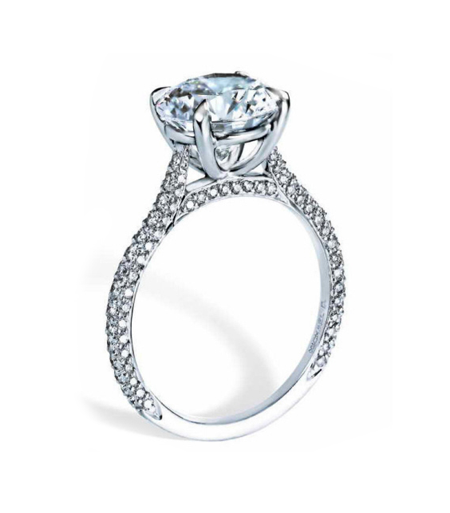 Michael B 'Paris' diamond engagement ring with 3-sided pavé