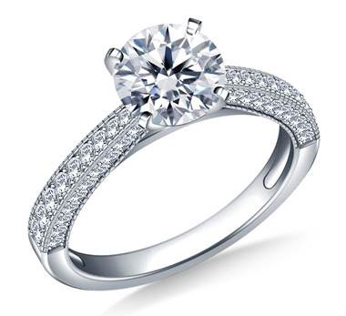 Milgrained Vintage Pave Set Diamond Engagement Ring in 18K White Gold (1/3 cttw.) at B2C Jewels