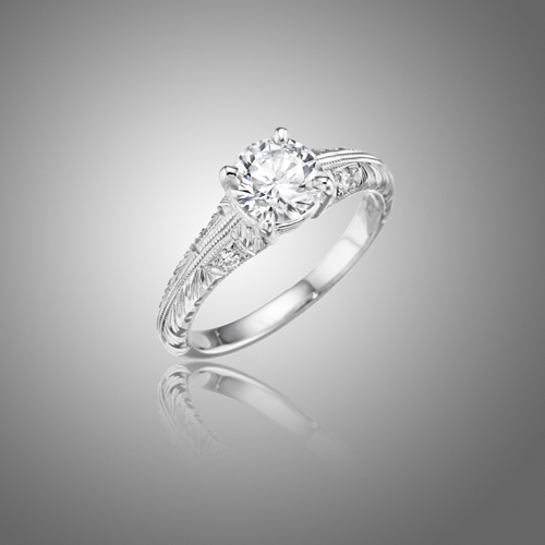 Mimi So Antique Double Milgrain Diamond Engagement Ring Setting