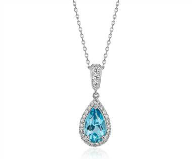 Monique Lhuillier Beloved Blue Topaz and Diamond Pear-Shaped Pendant in 18k White Gold